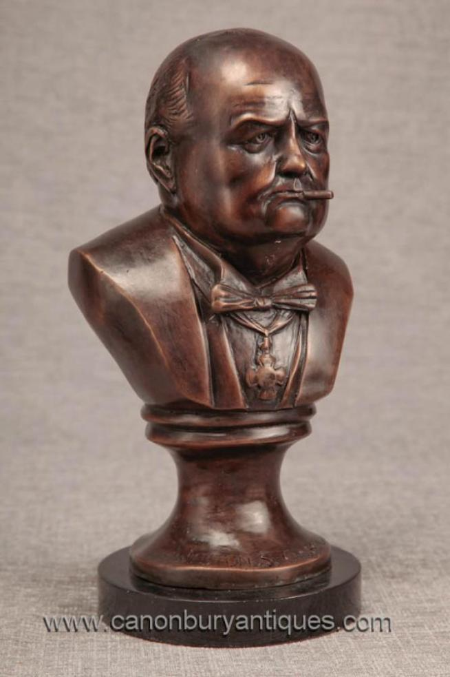 Bronze Bust British Pm Winston Churchill Statue War Hero