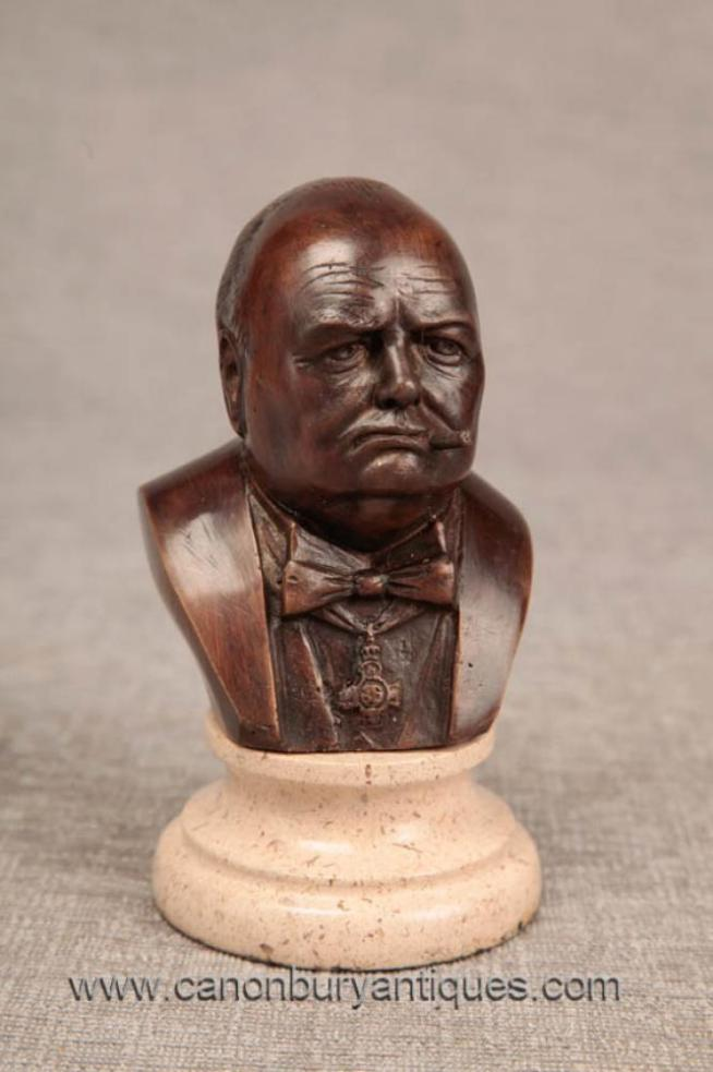 Charming Bronze Bust Winston Churchill Britain Prime Minister