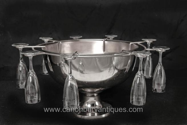 English Sheffield Silver Plate Champagne Glass Ice Bucket Set Punch Bowl