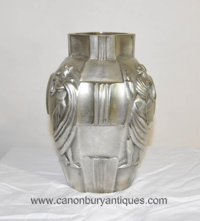 French Art Deco Silver Bronze Urn Vase Lady Figurine