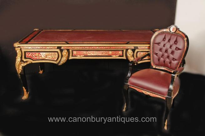 French Boulle Writing Table Desk and Chair Set