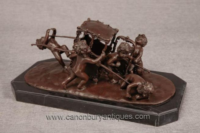 French Bronze Cherub Carriage Statue Putti Cherubim
