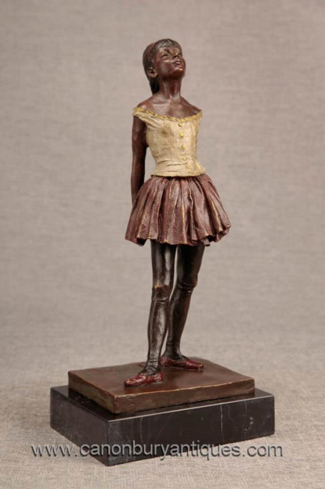 French Bronze Degas Ballerina Girl Statue Figurine Ballet Dancer