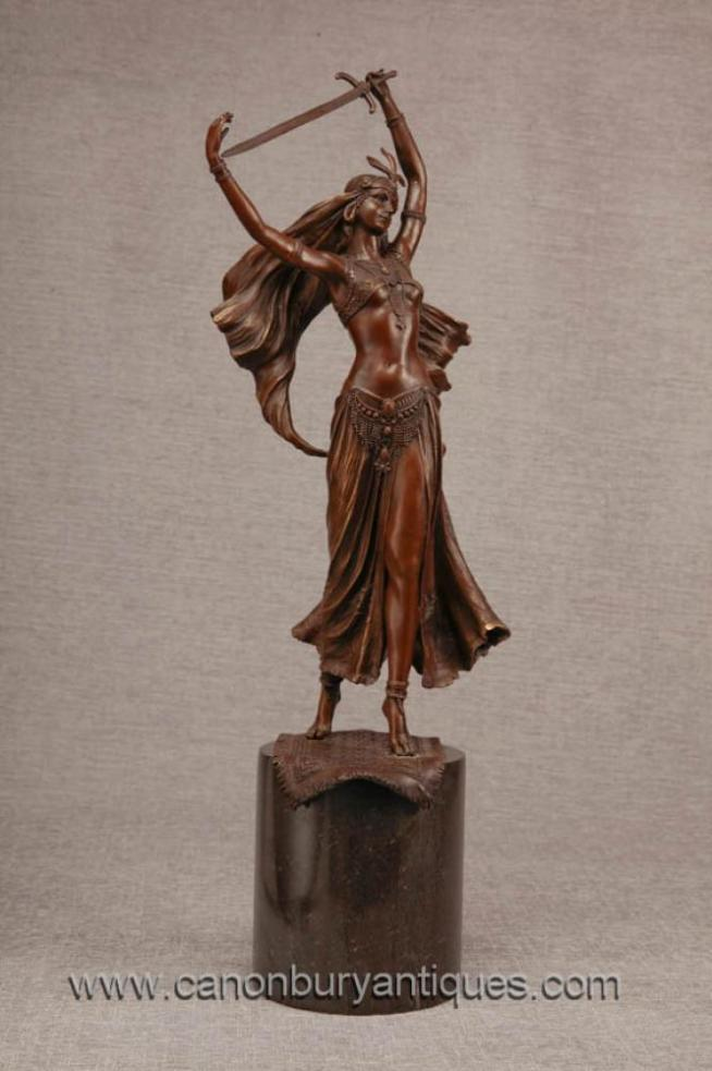 French Bronze Female Sword Swallower Exotic Dancer Figurine