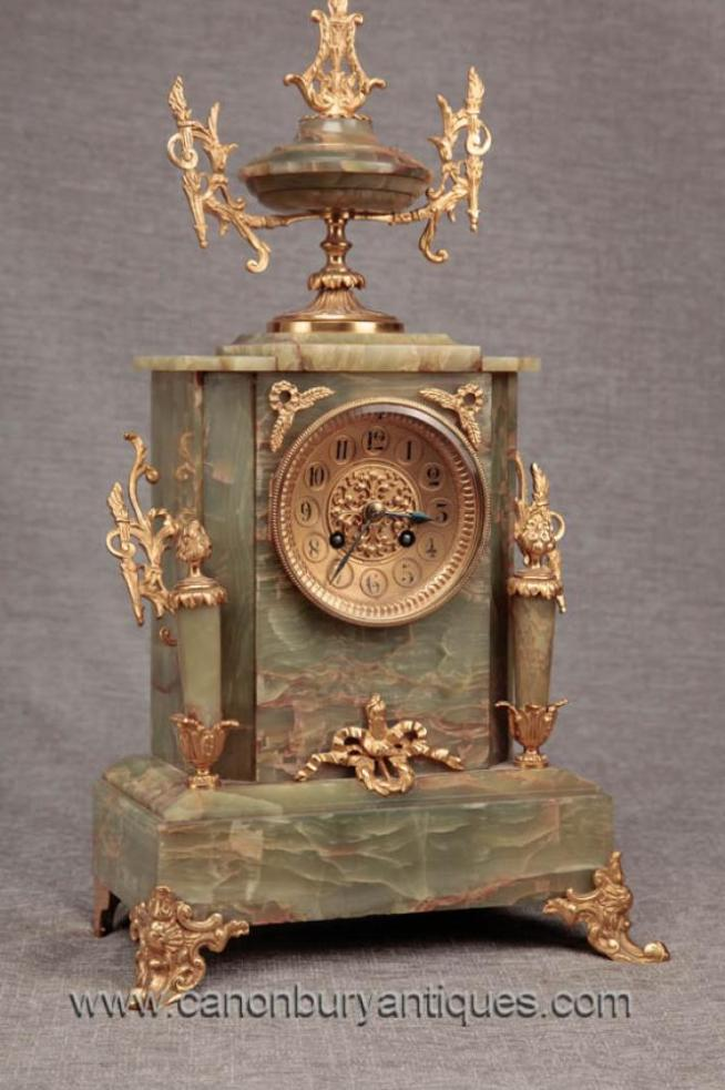 French Empire Antique Mantle Clock Marble Ormolu Time