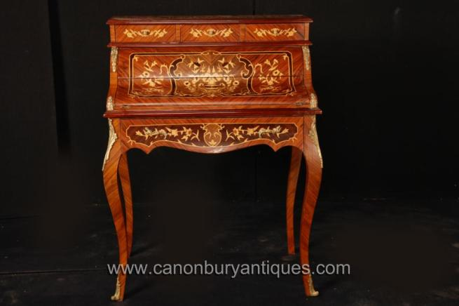 French Empire Desk Bureau De Dame Marquetry Inlay