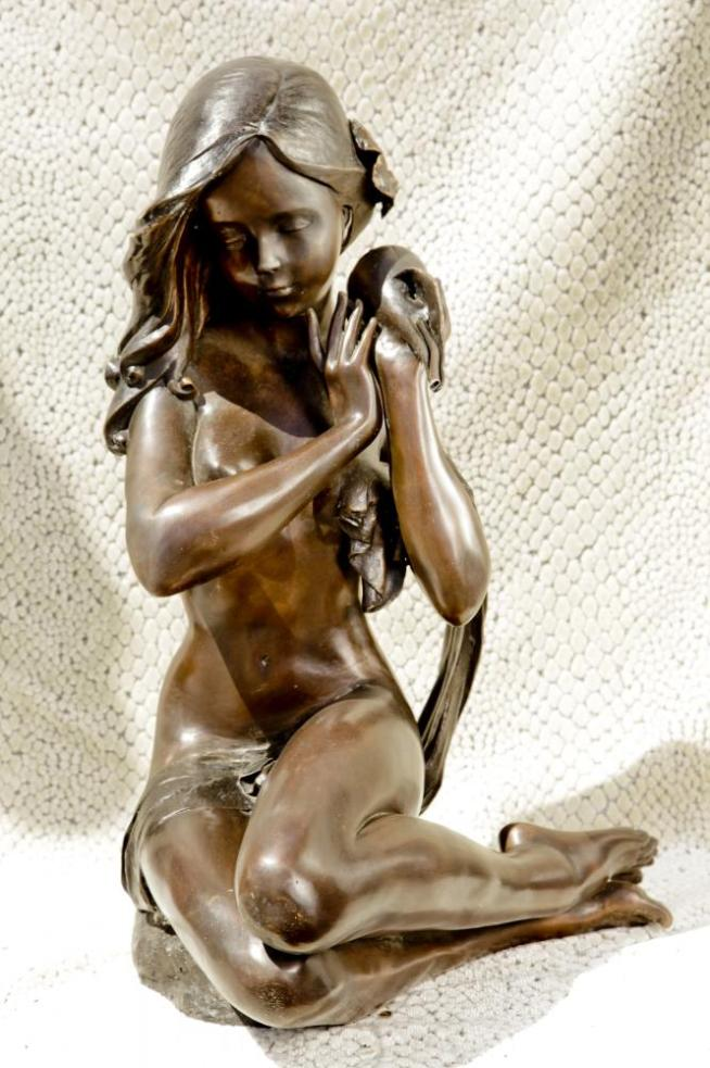 Large Bronze Mermaid Statue Siren Female Nude Conch Girl