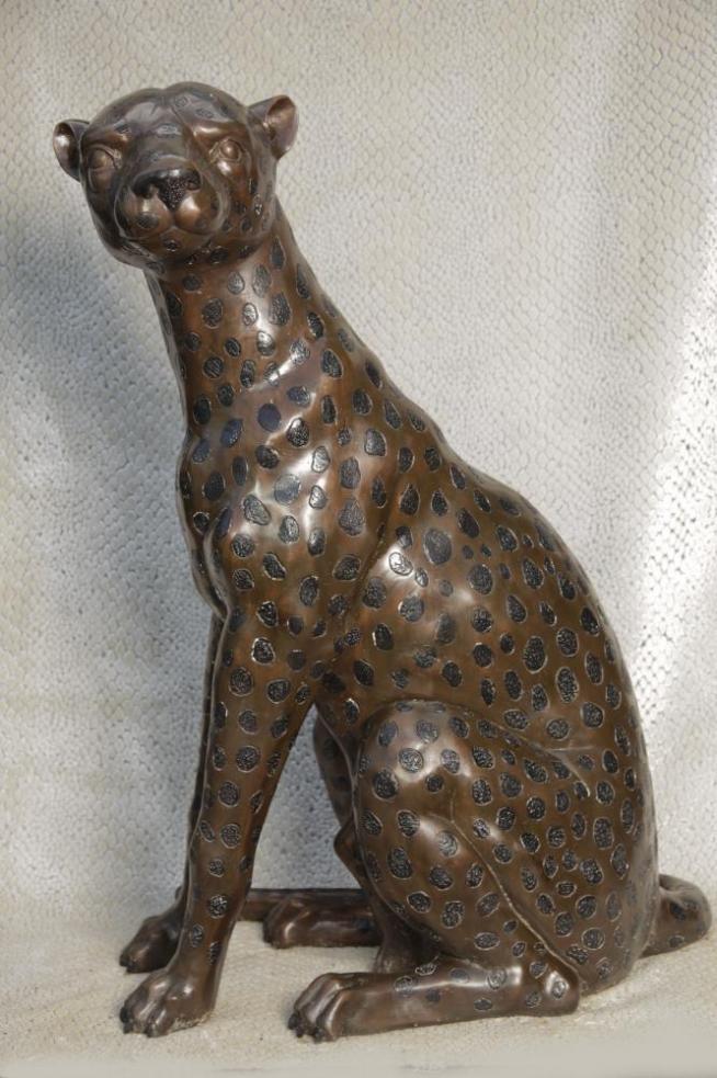 Lifesize Art Deco Bronze Panther Cat Cheetah Statue