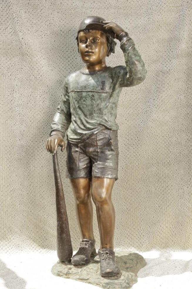 Lifesize Bronze Baseball Boy Statue Casting Major League Figure