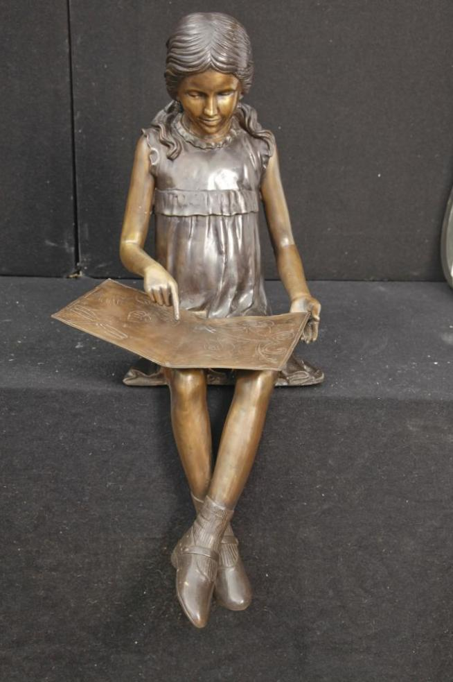 Lifesize Bronze Reading Girl Statue Casting Garden Art