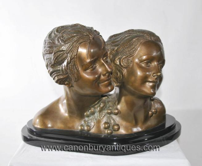 Pair Art Deco Bronze Chiparus Female Busts Head Statue