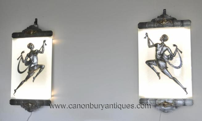 Pair Art Deco Bronze Wall Lights Sconces Appliques by Gori Plaques