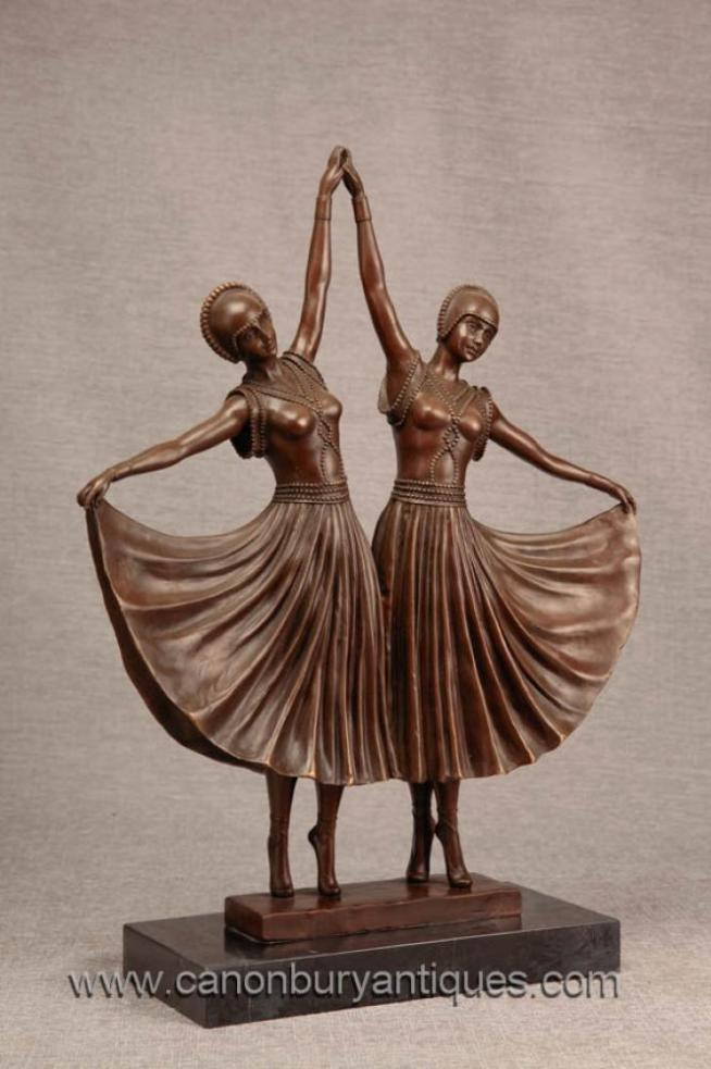 Pair Art Deco Twin Dancer Bronze Figurines by Chiparus