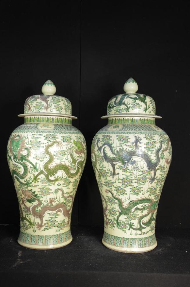 Pair Big Chinese Porcelain Dragon Temple Jars Qianlong Ming Pottery Urns