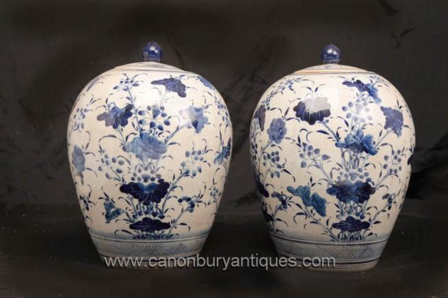 Pair Chinese Blue and White Ming Porcelain Lidded Urns Vases