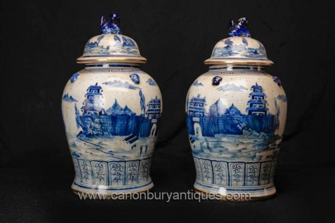 Pair Chinese Ming Porcelain Blue and White Ginger Jars Vases