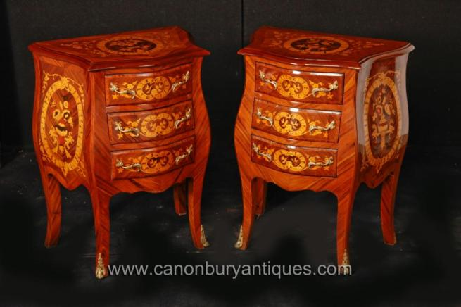 Pair Dutch Marquetry Inlay Chests Nightstands Commmodes Bedside Tables Bombe
