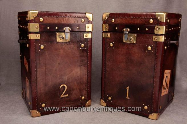 Pair English Leather Vintage Steamer Trunks Luggage Box Tables