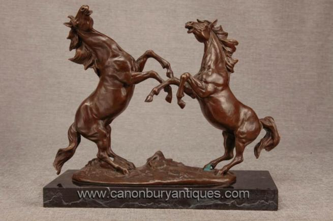 Pair French Bronze Horses by Milo Leaping Duelling Statue Pony