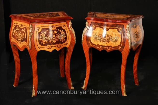 Pair French Empire Bombe Chest Drawers Commodes Nightstands