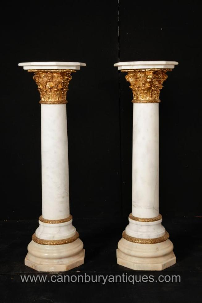 Pair French Empire Marble Corinthian Column Stands Pedestal Tables