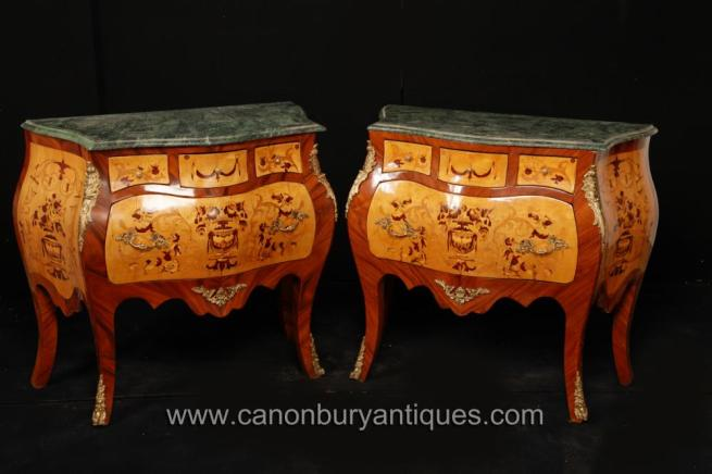 Pair French Empire Marquetry Inlay Bombe Commodes Chests Drawers