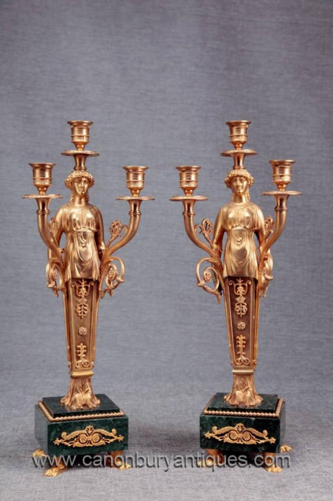 Pair French Empire Ormolu Marble Candelabras Candle Sticks