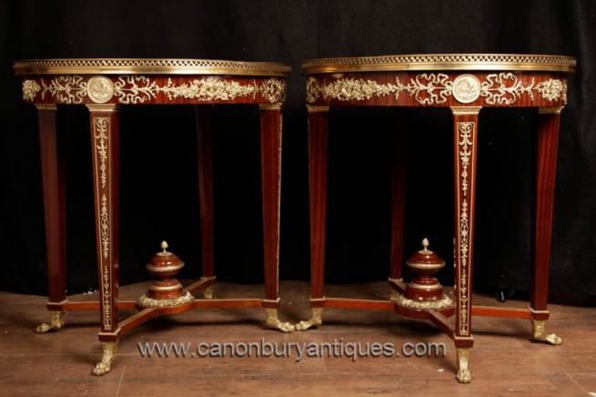 Pair French Empire Oval Side Tables Ormolu Fixtures Cocktail