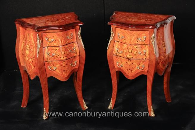 Pair French Louis XVI Bombe Chests Drawers Commodes Nightstands