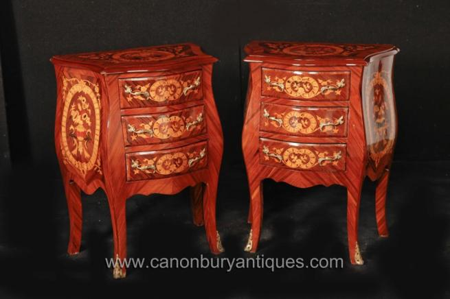 Pair French Louis XVI Bombe Nightstands Bedside Chests