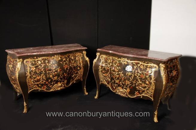 Pair Frency Black Lacquer Bombe Commodes Chests Drawers
