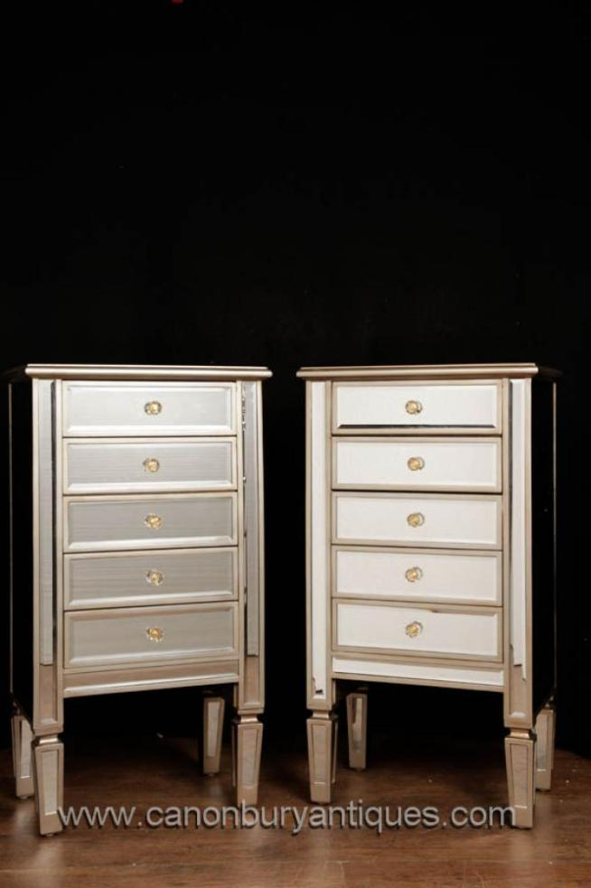 Pair Mirrored Chests of Drawers Art Deco Nightstands Furniture Tall Boy