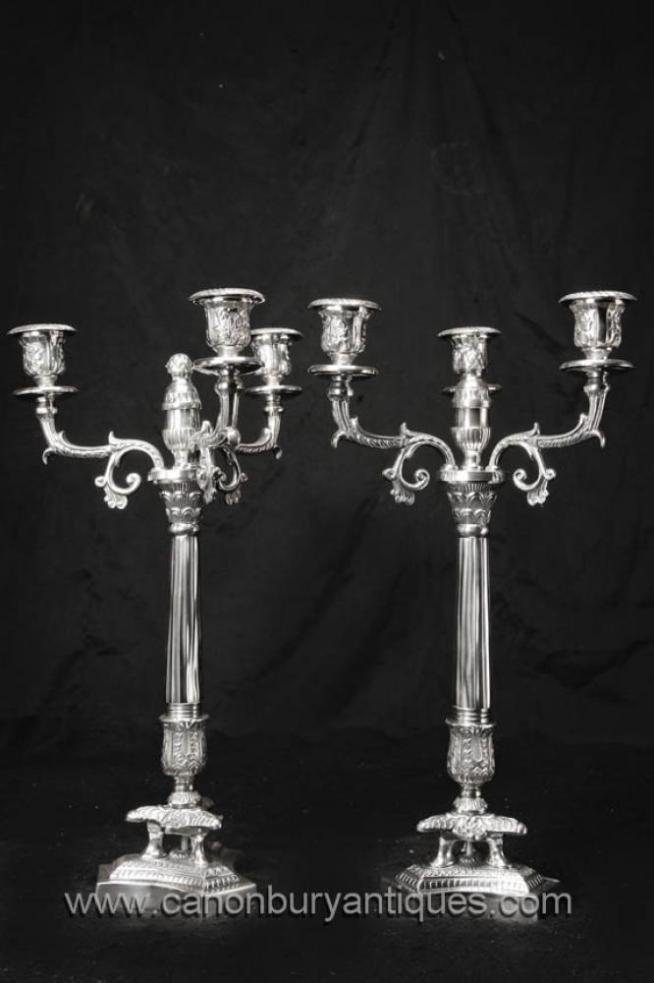 Pair Victorian Silver Plate Candelabras Corinthian Column Candles