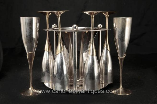 Sheffield Silver Plate Champagne Glass Ice Bucket Set Flutes Drinks