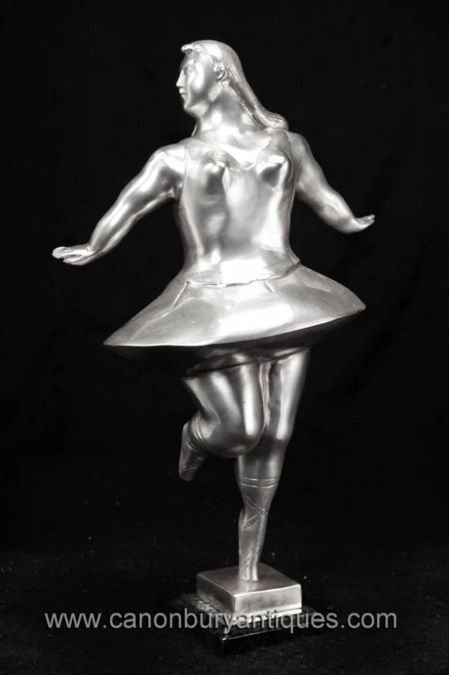 Silver Bronze Ballet Dancer Statue Figurine Botero