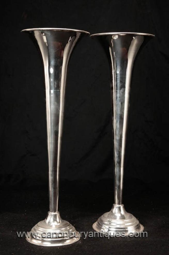 Victorian Sheffield Silver Plate Vases English Vase