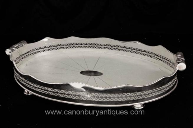 Victorian Silver Plate Butlers Tray Shagreen Platter Silverplate