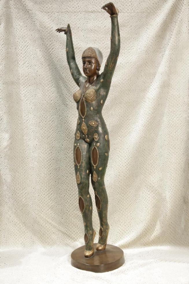 XL Chiparus Art Deco Bronze Figurine Starfish Dancer Statue