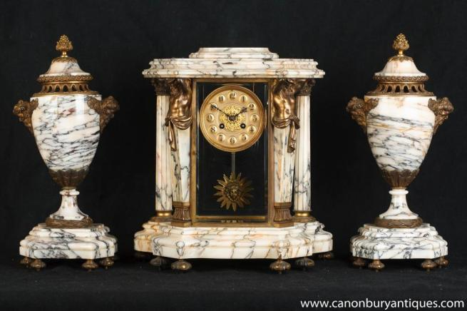 Antique French Empire Marble Clock Set Garniture Urns Atlas