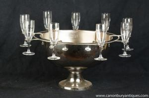 French Silver Plate Cafe De Paris Ice Champagne Bucket Glasses