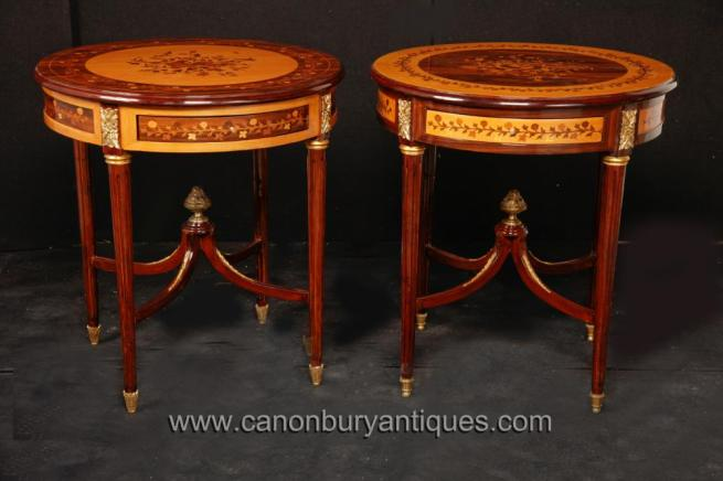 Pair Louis Philippe Side Cocktail Tables with Inlay