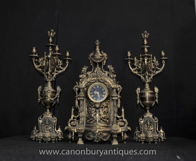 Antique French Empire Clock Garniture Set Candelabras Ormolu