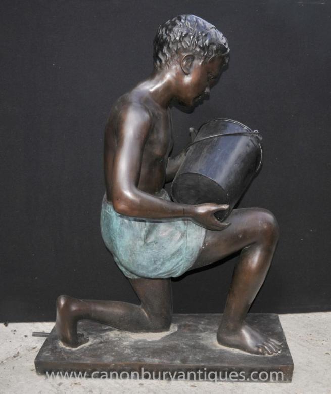 Bronze Lifesize Bucket Boy Garden Fountain Water Feature Statue