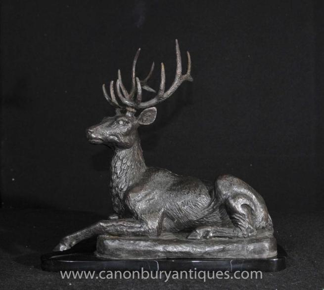 Bronze Scottish Stag Statue Highlands Recumbant Stags