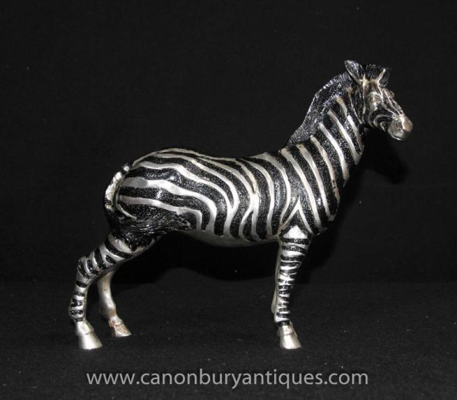 French Art Deco Silver Bronze Zebra Statue