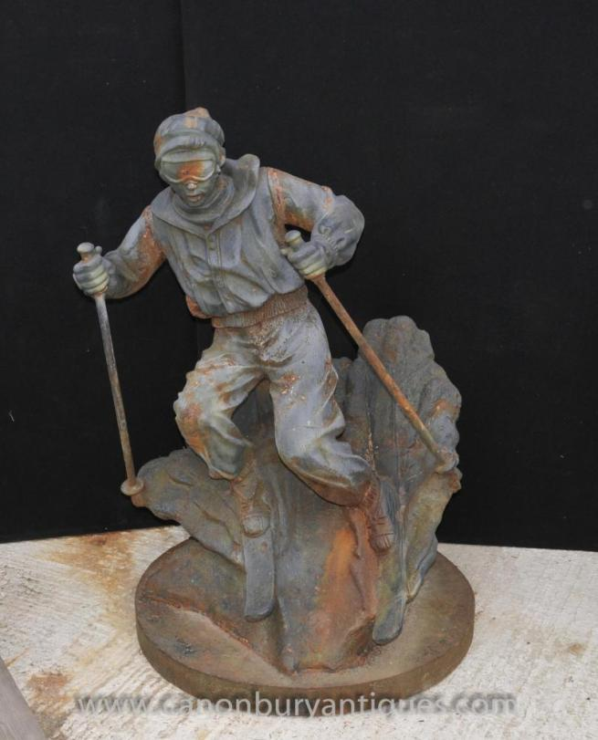 French Cast Iron Lifesize Ski Statue Sculpture Alpine Skier