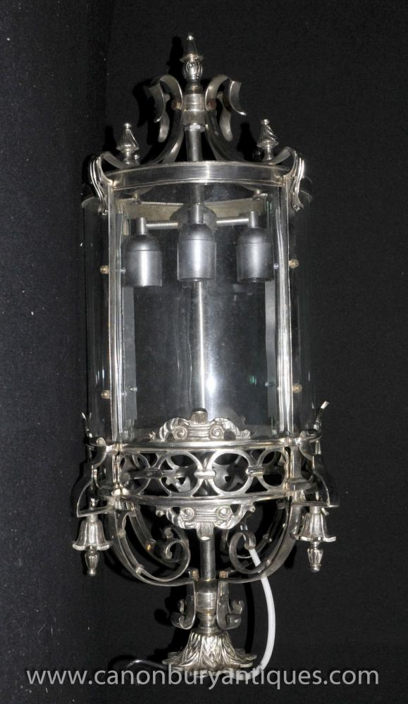 French Silver Plate Lantern Light Chandelier