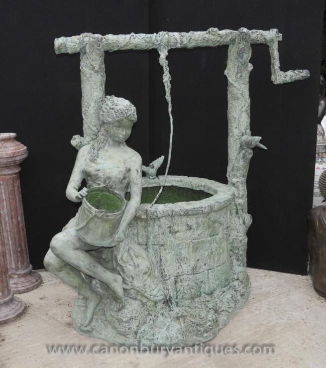 Large Bronze Well Maiden Garden Fountain Water Feature Sculpture