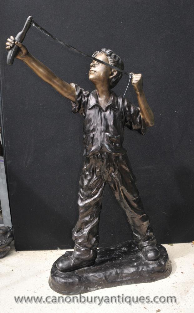 Lifesize Bronze Catapult Boy Statue Garden Art Architectural Casting