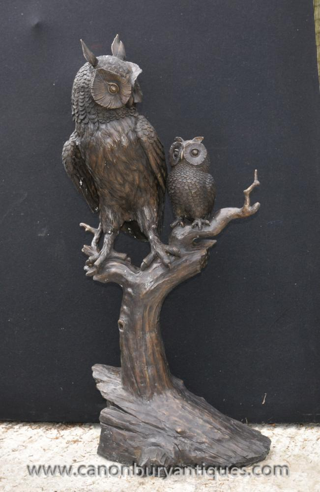 Lifesize Bronze Tawny Barn Owl and Owlet Statue Sculpture Birds Prey